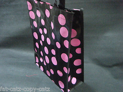 ECO FRIENDLY BLACK /& WHITE SPOTTED POLKA DOT LUNCH SHOPPING TRAVEL BAG FREE POST