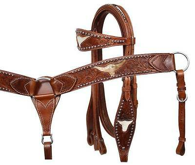 Showman MEDIUM OIL Steer Cut Out Headstall Breastcollar and Reins Set! NEW TACK!