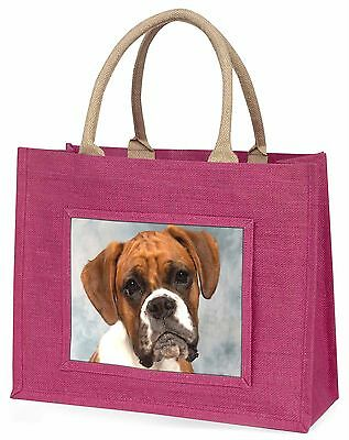 Boxer Dog Large Pink Shopping Bag Christmas Present Idea, AD-B1BLP