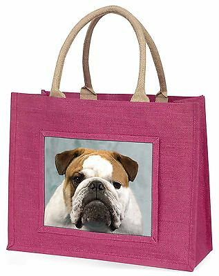 Bulldog Dog Large Pink Shopping Bag Christmas Present Idea, AD-BU1BLP