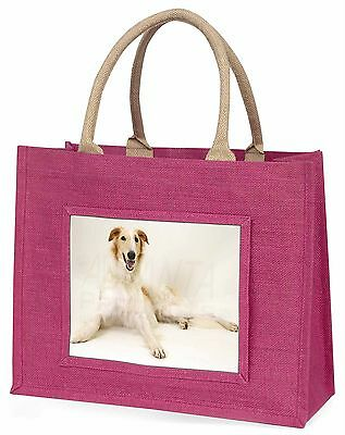 Borzoi Dog Large Pink Shopping Bag Christmas Present Idea, AD-BZ1BLP