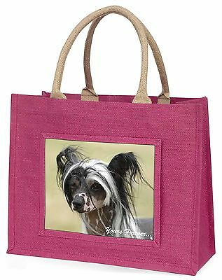 "Chinese Crested Dog ""Yours Forever..."" Large Pink Shopping Bag Chri, AD-CHC2yBLP"