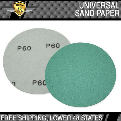 x10 Pc Wet Dry Sanding Paper Sheets Collision Repair Sand Disc 60 Grit 5Inch PSA