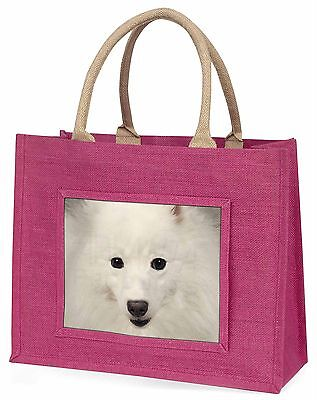 Japanese Spitz Dog Large Pink Shopping Bag Christmas Present Idea, AD-JS1BLP