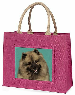 Keeshond Dog Large Pink Shopping Bag Christmas Present Idea, AD-KEE1BLP