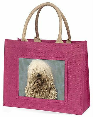 Komondor Dog Large Pink Shopping Bag Christmas Present Idea, AD-KOM1BLP