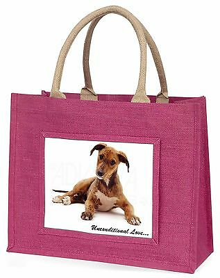 Lurcher Dog-With Love Large Pink Shopping Bag Christmas Present Idea, AD-LU2uBLP