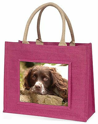 Springer Spaniel Dog Large Pink Shopping Bag Christmas Present Idea, AD-SS1BLP