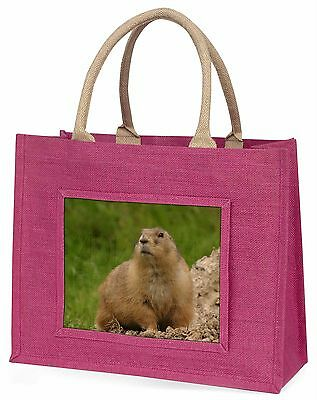 Groundhog-Prairie Dog Large Pink Shopping Bag Christmas Present Idea, AGH-1BLP