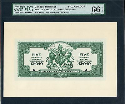 "CANADA, BARBADOS ""BACK PROOF"" 1920 $5 = £1-0s-10d PMG 66 EPQ GEM UNC WLM1338"