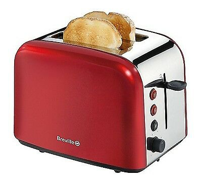 Breville VTT201 2 Slice Wide Slot TOASTER in RED Stainless Steel Removable Tray