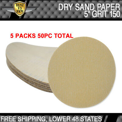 x50 PC Dry Bodykit Repair Sanding Paper Sheets Auto Sand Disc 150 Grit 5Inch PSA