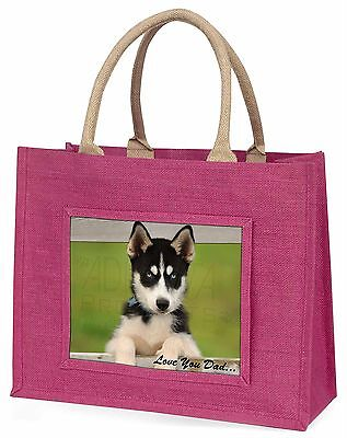 Husky Pup 'Love You Dad' Large Pink Shopping Bag Christmas Present Id, DAD-56BLP