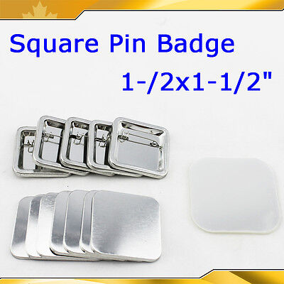 "1-1/2x1-1/2"" 37x37mm Pin Badge Button Parts for Maker Machine Blank  DIY Kit"