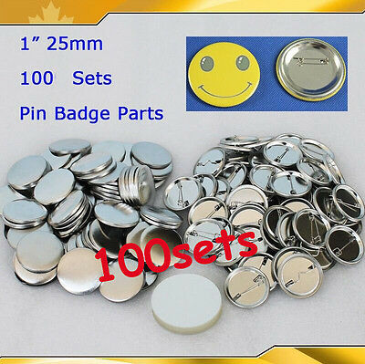 "BIG SALE!!DIY 1,00sets 1"" 25mm  Pin Badge Button Parts Supplies for Maker Metal"