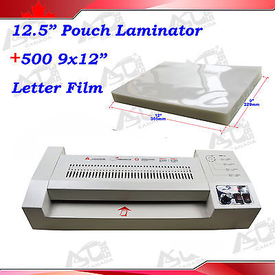 12.5In Metal Hot Cold 4Rolls Thermal Pouch Laminating Laminator +500 Letter Film