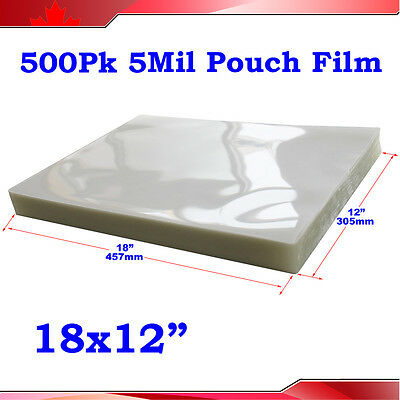 """500 5Mil 12x18"""" Menu Size Clear Thermal Hot Laminating Pouch Film Laminator"""