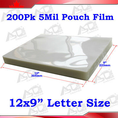 """200 5Mil 9x12"""" Letter Size Clear Laminating Pouch Film for Thermal Hot Lamintor"""