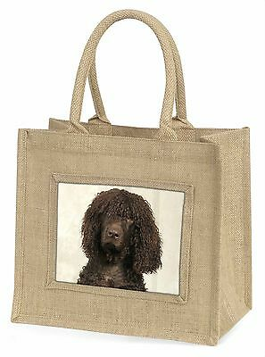 Irish Water Spaniel Dog Large Natural Jute Shopping Bag Christmas Gif, AD-IWSBLN