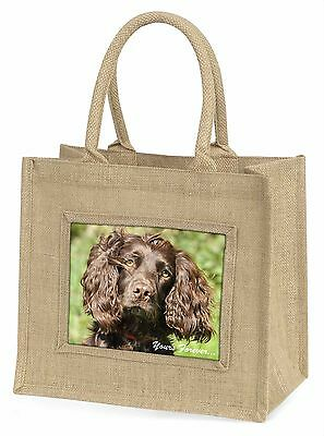 Chocolate Spaniel 'Yours Forever' Large Natural Jute Shopping Bag Ch, AD-SC4yBLN