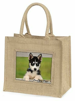 Husky Pup 'Love You Dad' Large Natural Jute Shopping Bag Christmas Gi, DAD-56BLN