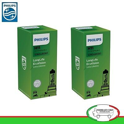KIT 2 LAMPADINE PHILIPS H11 12V 55W WHITE VISION ULTRA MAZDA 3 DAL 2009 IN POI