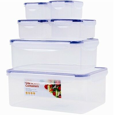 6 x Clip & Lock Rectangular Clear Containers Lunch Box Picnic Food Rectangular
