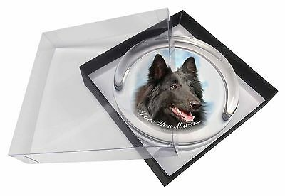 Black Belgian Shepherd 'Love You Mum' Glass Paperweight in Gift Box, AD-BS3lymPW