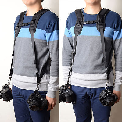 UK Quick Rapid Double Shoulder Camera Belt Strap for 2 SLR DSLR Cameras
