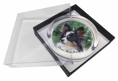 Papillon Dog 'Love You Mum' Glass Paperweight in Gift Box Christma, AD-PA62lymPW