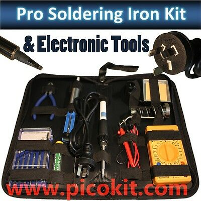 NEW 30W Soldering Iron Silicon Lead Electonic Tool Kit, Multimeter, Screwdrivers