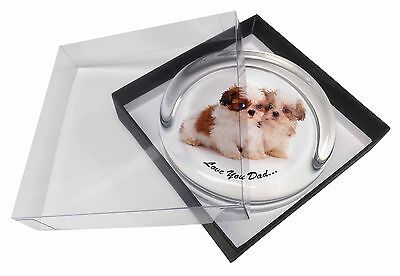 Shih-Tzu Dogs 'Love You Dad' Glass Paperweight in Gift Box Christmas , DAD-123PW