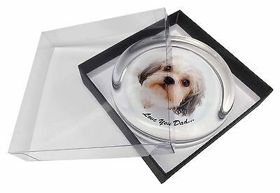 Shih-Tzu Dog 'Love You Dad' Glass Paperweight in Gift Box Christmas P, DAD-125PW