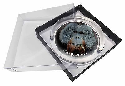 Orangutan 'Love You Dad' Glass Paperweight in Gift Box Christmas Pres, DAD-144PW