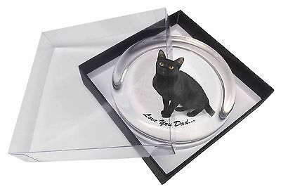 Black Cat 'Love You Dad' Glass Paperweight in Gift Box Christmas Pres, DAD-156PW