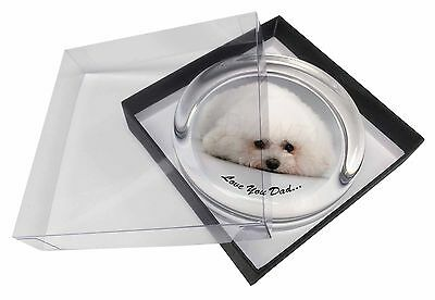 Bichon Frise 'Love You Dad' Glass Paperweight in Gift Box Christmas P, DAD-166PW
