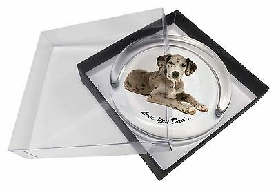 Great Dane Dog 'Love You Dad' Glass Paperweight in Gift Box Christmas, DAD-172PW