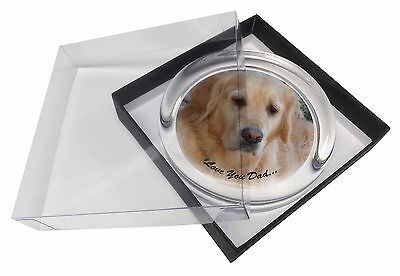 Golden Retriever 'Love You Dad' Glass Paperweight in Gift Box Christm, DAD-174PW