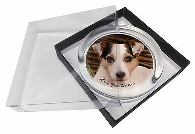 Jack Russell Dog 'Love You Dad' Glass Paperweight in Gift Box Christm, DAD-176PW