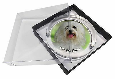 Havanese Dog 'Love You Dad' Glass Paperweight in Gift Box Christmas Pr, DAD-55PW