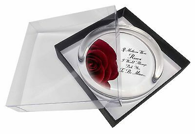 'If Mothers Were Roses' Sentiment Glass Paperweight in Gift Box Christm, MUM-1PW