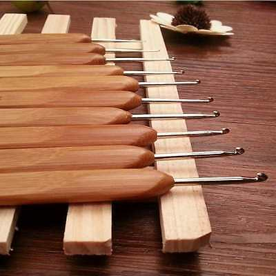 10pcs/set metal bamboo handle crochet knitting needles knitting yarn embroidery