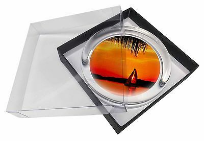 Sunset Sailing Yacht Glass Paperweight in Gift Box Christmas Present, SUN-2PW