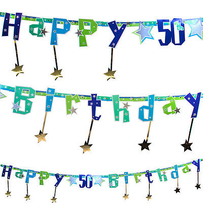 8.5ft Shimmer Star Happy 50th Birthday Letter Banner Party Decoration