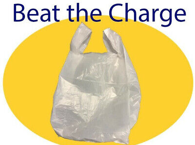 White Plastic Carrier Bags Vest Single Use (pack of 100) Carrier Bag Tax Beater