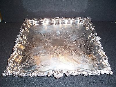 "Vintage Silverplate Ornate Square Serving Tray 16"" Crown Hallmark"