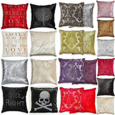 Crystal Sparkle Velvet Feel Cushion Covers or Filled Cushions in Many Designs