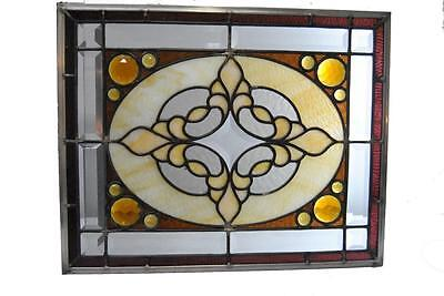 Turn Of The Century American Stained Beveled And Jeweled Glass Circa 1900