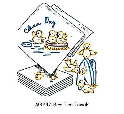 M3247 Birds for Kitchen towel DOW Embroidery transfer pattern Hot Iron on