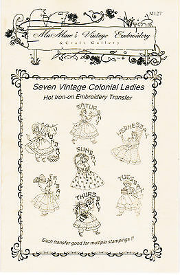 M127 Seven VNTG Colonial Ladies DOW tea Towels Embroidery hot iron transfer